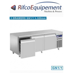 Soubassement réfrigéré, 3 tiroirs GN 1/1-h 200 mm