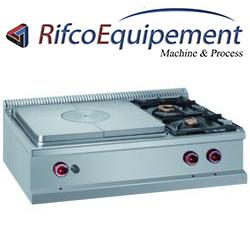 Cuisinière gaz 2 feux vifs à droite et plaque coup de feu gaz -Top-