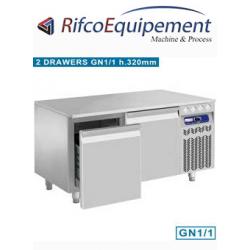 Soubassement réfrigéré, 2 tiroirs GN 1/1 h.200 mm