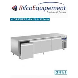 Soubassement réfrigéré, 4 tiroirs GN 1/1-h 200 mm